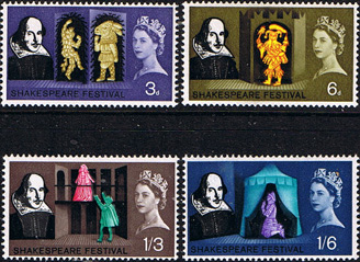 Stamps Great Britain 1964 William Shakespeare Phospher Band Set Fine Mint