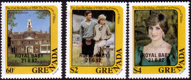 Stamp Stamps 1982 Grenada Royal Baby Prince William Fine Mint