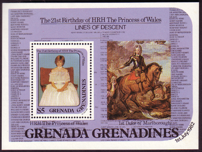 Grenada Greanadines 1982 Diana 21st Birthday $5 Mini Sheet Fine Mint
