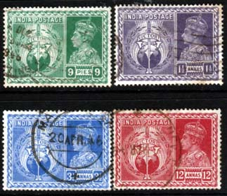 India 1946 Stamps King George VI Victory Set Fine Used