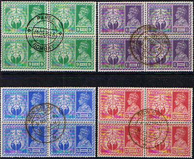 Stamps India 1946 King George VI Victory Set in Blocks of 4 Fine Used