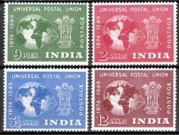 India Stamps 1949 Universal Postal Union Set Fine Mint