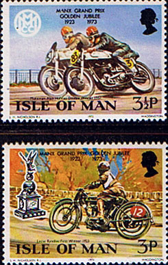 Postage Stamps Isle of Man 1973 Golden Jubilee of the Manx Grand Prix Set Fine Mint