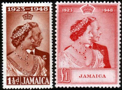 Jamaica Stamps King George VI Royal Silver Wedding