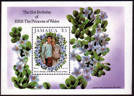 Postage Stamps 1982 Jamaica Diana 21st Birthday Miniature Sheet Fine Mint
