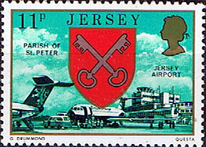 Postage Stamps Stamp Jersey Parish Arms and Views SG 145 Jersey Airport St Peter Parish Fine Min
