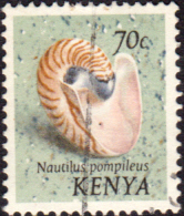 Postage Stamps Kenya 1971 Chambered or pearly nautilus SG 45 Fine Used Scott 44