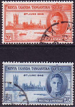 Kenya Uganda and Tanganiyka Stamps 1946 King George VI Victory Set Fine Used