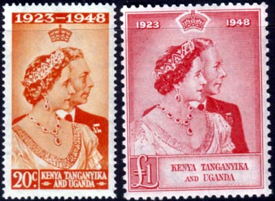 Kenya Uganda Tanganyika Stamps 1948 King George VI Royal Silver Wedding