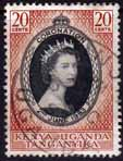 Kenya Uganda and Tangnyika Queen Elizabeth II 1953 Coronation Fine Used SG 165 Scott 101