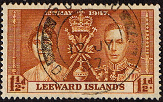 Postage Stamps Leeward Islands 1937 King George VI Coronation Fine Used SG 93 Scott 10