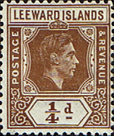 Postage Stamps Leeward Islands 1938 SG 99c King George VI Fine Mint SG 95 Scott 103