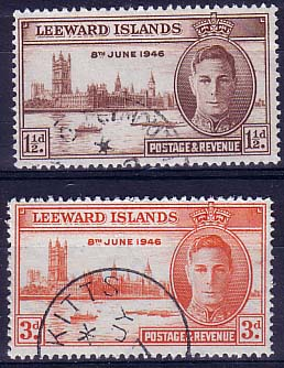 Postage Stamps Leeward Islands 1946 King George VI Victory Peace Set Fine Used
