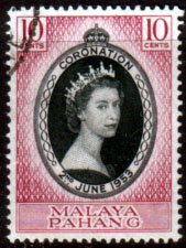 British Commonwealth Stamps Malaya Pahang Queen Elizabeth II 1953 Coronation Fine Used