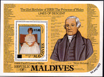 Stamps 1984 Maldive Islands Diana 21st Birthday Miniature Sheet Surcharged Fine Mint