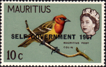 Mauritius 1967 Birds Overprinted Self Government SG 353 Bird Fine Mint