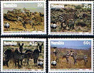 Stamps of Namibia 1991 World Wild Life Fund Endangered Species Set Fine Mint