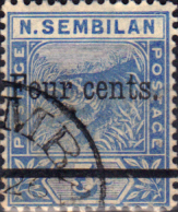Malay Stamps Negri Sembilan 1898 Surcharged Tiger SG 18 Fine Used Scott 19