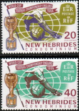 New Hebrides British 1966 Football World Cup Set Fine Mint