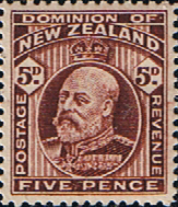 Stamps Stamp New Zealand 1909 SG 391 King Edward VII Head Fine Mint SG 391 Scott 136