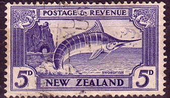 New Zealand 1936 SG 584b Stripped Marlin Fish Fine Used
