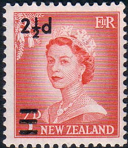 Stamps of New Zealand 1961 SG 808 Surcharged Fine Mint Scott 354