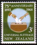 New Zealand 1968 SG 890  Universal Suffrage Fine Mint