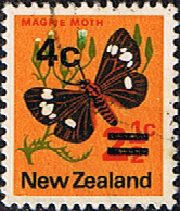 New Zealand 1971 SG 957a 4c Surcharged Butterfly Fine Used
