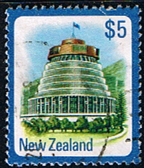 New Zealand 1975 $5 Beehive Parliment Building Fine Used