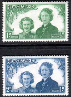 New Zealand Stamps Health 1944 Princesses