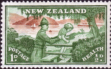 New Zealand Health 1946 Soldier Hepling Child SG 678 Fine Mint