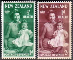 New Zealand Health Stamps 1950 Queen and Prince