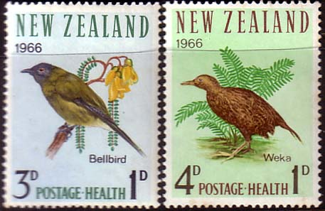 Stamps of New Zealand Health 1966 Birds Set Fine Mint
