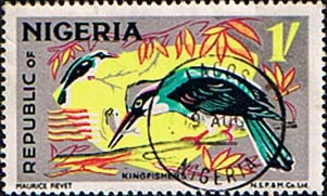 Nigeria 1969 SG 227 Blue Brested Kingfisher Bird Fine Used