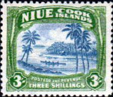 Niue 1944 Palm Tree and Canoe SG 97 Fine Mint