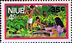 Niue Stamps 1977 Food Gathering Surcharged SG 227 Scott 206