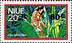 Niue Stamps 1977 Food Gathering Surcharged SG 229 Scott 208