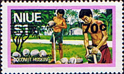 Niue Stamps 1977 Food Gathering Surcharged SG 230 Scott 209