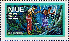 Niue Stamps 1977 Food Gathering Surcharged SG 231 Scott 210