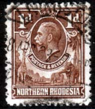 Stamps of Northern Rhodesia 1925 Animals SG 2 Fine Used Scott 2