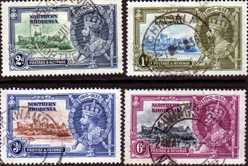 Northern Rhodesia Stamps 1935 King George V Silver Jubilee Set Fine Used