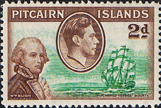 Stamps Pitcairn Islands 1940 SG 4 Bligh and HMS Bounty Fine Mint Scott