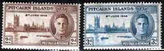 Stamps Pitcairn Islands 1946 King George VI Victory Set Fine Mint