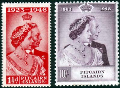 Pitcairn Islands Stamps 1948 King George VI Royal Silver Wedding