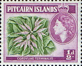 Postage Stamp Stamps Pitcairn Islands 1957 SG 18 Plant Cordyline terminalis Fine Mint Scott 20