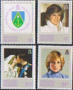 Postage Stamps 1982 Pitcairn Islands Diana 21st Birthday Set Fine Mint