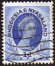Postage Stamps Rhodesia and Nyasaland 1954 Queen Elizabeth II SG  2 Fine Used