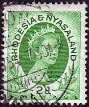 Postage Stamps Rhodesia and Nyasaland 1954 Queen Elizabeth II SG 3 Fine Used
