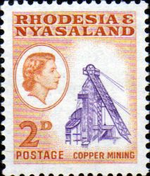 Postage Stamps Rhodesia and Nyasaland 1959 Queen Elizabeth II Copper Mining SG 20 Fine Used Scott 159