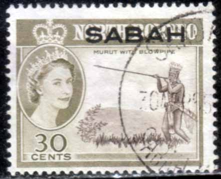 Sabah 1964 SG 416 Murut With Blowpipe Fine Used